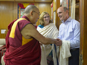The 14th Dalai Lama's gracious welcome to Jon Kolkin & Mayor McFarlane