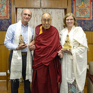 Mayor McFarlane & Jon Kolkin Receiving Stupa Gifts from the 14th Dalai Lama